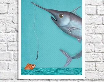 Fishing Nursery Decor Swordfish Picture Unique Kids Wall Art Boys Room Decor Baby Bedroom Ideas Fish Art Print Children's Art Beach Poster