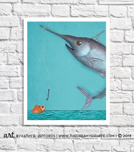 Fishing Nursery Decor Swordfish Picture Unique Kids Wall Art Boys Room Decor Baby Bedroom Ideas Fish Art Print Children's Art Beach Poster