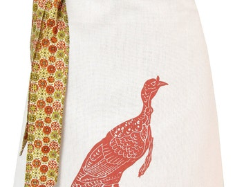 Organic block print turkey apron