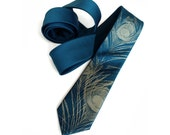 Peacock feather necktie. Peacock blue (and more!) men's tie. Antique brass screnprint. Microfiber tie. Your choice: standard, narrow size.