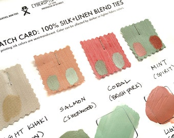 4 linen necktie swatches with printing ink. Our exclusive silk & linen blend. Color samples for custom and wedding orders.