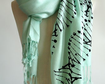 DNA scarf. DNA double helix silkscreened pashmina. Your choice of mint scarf & more. Science teacher, genetics, medical student gift.
