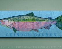 Chinook Salmon Art Block- Lake Home Art- Gifts for Boyfriend- Chinook Salmon Print- Unique Fishing Gifts for Men- Salmon Gifts- Dad Gifts