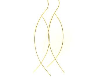 Birdhouse Jewelry - Gold wire fish earrings