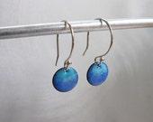 Petite Circle Enamel Earrings, Sky Blue & Periwinkle Blue Ombre Kiln Fired Glass Enamel, Sterling Silver Hooks, Small Dangle Earrings