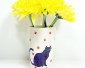 itty bitty cylinder black cat with bright red polkadots, Made to Order/Pick Your Colour