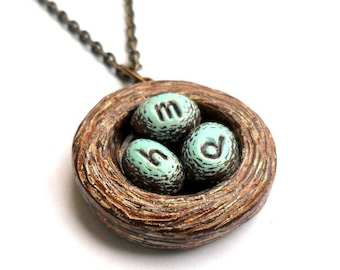 Personalized Bird Nest Necklace, Bird Nest and Blue Eggs Necklace, Personalized Mothers Necklace, Childrens Initials Necklace, Gift for Mom