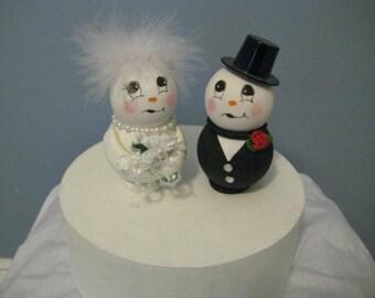 Snowmen wedding cake topper, winter wonderland, whimsical, fainting groom, anniversary, shower cake topper