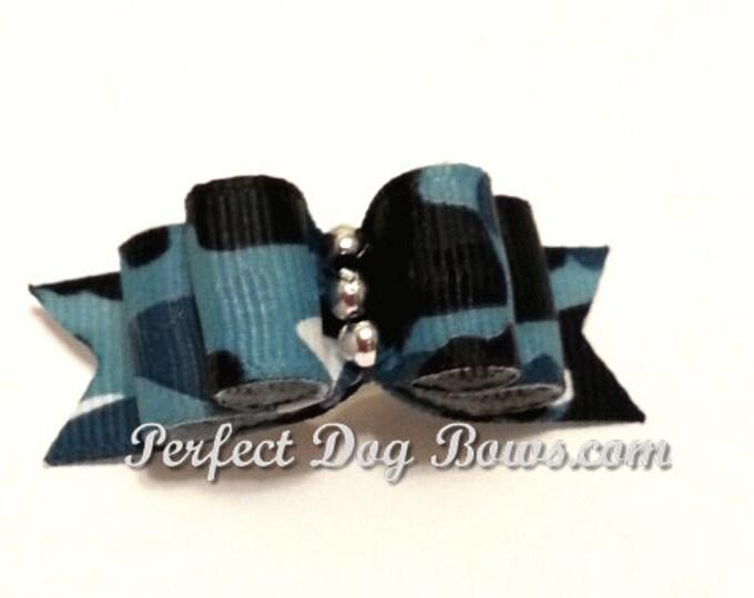 Blue Camo Dog Bow for Yorkie, Shih Tzu, Poodles