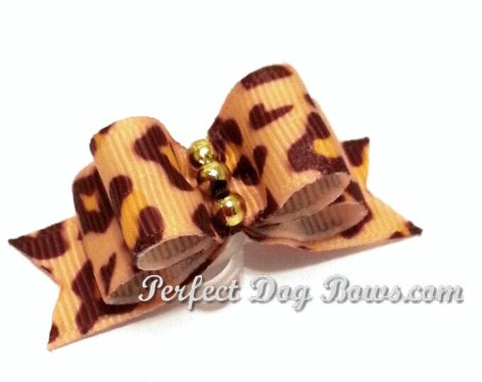 Leopard Dog Bow for Yorkie, Shih Tzu, Poodles