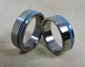 Wedding Ring Set- Titanium and Turquoise - Titanium Ring - Handmade Ring - Mens Ring - Womens Ring - Turquoise Ring - Wedding Bands