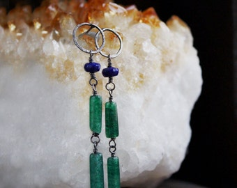 long stone earrings, blue green sterling silver jewelry, aventurine lapis