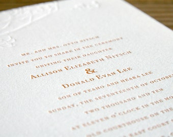 Letterpress Wedding Invitations: 'Fall Branches'  blind embossed (custom printed)