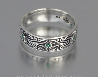 The COUNT silver and Emeralds mens unisex wedding band