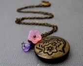"""Eden Locket Necklace // Flowers Engraved Brass Round Locket // Pink and Purple Flowers // 17"""" Brass Chain // Gift under 20"""