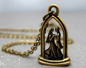 """Marry Me Necklace // 3D Brass Wedding Charm // Marriage Proposal Necklace // Valentine Day Gift // 17"""" Brass Chain"""