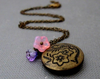 "Eden Locket Necklace // Flowers Engraved Brass Round Locket // Pink and Purple Flowers // 17"" Brass Chain // Gift under 20"