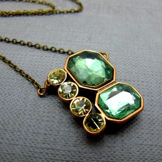 """Emerald and Canary Necklace // Emerald and Pale Yellow Rhinestone Pendant // Art Deco Design // 17"""" Brass Chain"""