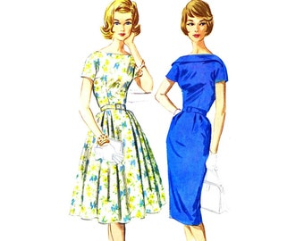 1960s Slim or Full Skirt Dress McCalls 5847 Vintage Sewing Pattern Full Figure Size 18 Bust 38