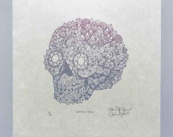 Reserved for Moonbeam--Woodcut Print, Woodblock Print , Crystal Skull by Tugboat Printshop