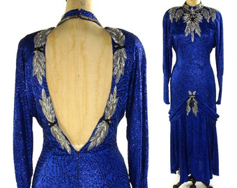 80s Blue Glitter & Beaded Cocktail Dress / Red Carpet / Hollywood GLAM