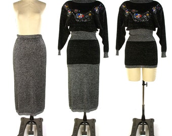 80s Metallic Silver Sweater Suit / Vintage 1980 Dressy Knit Skirt and Top / Jeweled & Sequined Neckline / Glam Rocker Holiday Cocktail Dress