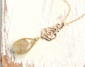 14k Gold Rose and Rutilated Quartz Necklace
