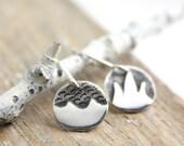Mountain and Ocean Earrings Silver