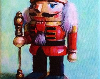 Christmas Nutcracker 5x7 print of original acrylic on canvas painting