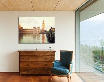 "London Canvas Art, Big Ben, Westminster, Urban Wall Decor, London Photography, Oversized Art, Home Decor ""Good Morning London"""