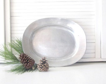 Antique Pewter Tray Platter