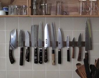 Magnetic Knife Holder, Hardwood, Ceramic Tile or Marble Wall Mounting,