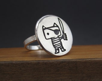 Pirate Cat Ring - Sterling Silver Cat Ring Custom Made to Your Size