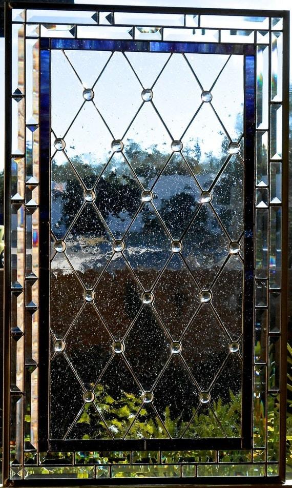 Diamond grid stained glass window panel or cabinet door insert for Fenetre en vitrail