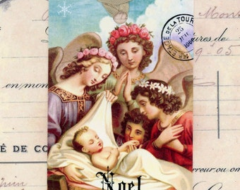 Religious Christmas Tags , Noel Tags , Vintage Christmas , Angels Gift Tags , Baby Jesus Tags , French Religious , French Tags