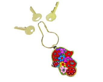 Hamsa Key chain /Colorful /designed Hamsa /Key Ring  / key chain / bag  decoration