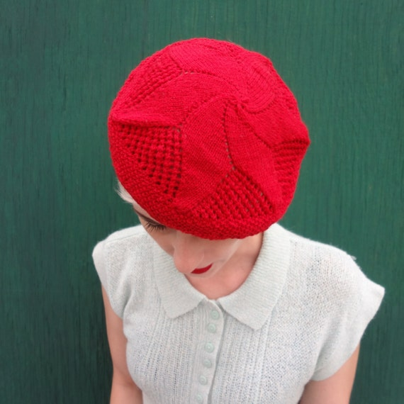 1920s Hat Hand Knit Star Beret Hat in Cherry