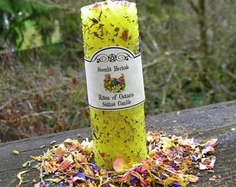 Rites of Ostara Beeswax Candle - Sabbat, Goddess Eostre, Spring Equinox, Abundance, Fertility, Garden Blessing, Faerie Magick, Renewal