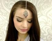 Plum Purple Tikka in silver, Silver Tikka , Bollywood, Tribal, Belly Dance, Headpiece, Forehead Jewelry