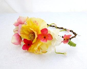 Flower Crown, Yellow and Pink Flower Crown, Woodland Headpiece, Boho Wedding, Flower Circlet