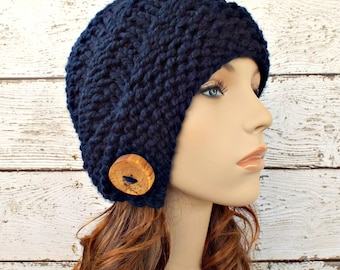 Knit Hat Womens Hat - Hybrid Swirl Cloche Hat Navy Blue Knit Hat - Navy Cloche Navy Beanie Navy Hat Blue Hat Womens Accessories Winter Hat