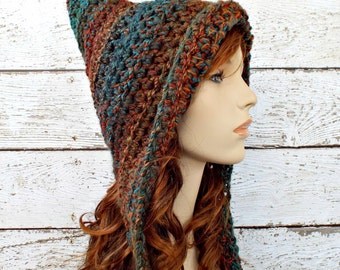 Crochet Hat Womens Hat - Pixie Hat in Teal Blue Brown Rust Crochet Hat - Teal Pixie Hat Brown Pixie Hat Womens Accessories Winter Hat