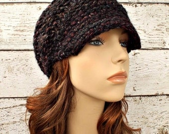 Knit Hat Womens Hat Grey Newsboy Hat - Swirl Beanie with Visor in Blackstone Black Maroon Charcoal Grey Knit Hat - Womens Accessories