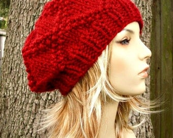 Instant Download Knitting Pattern - Knit Hat Knitting Pattern - Knit Hat Pattern for Brocade Beret Slouchy Hat Womens Hat