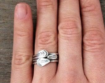 stacking rings - sterling silver rings - tribal rings - feather ring - custom made arrow rings- unique rings - boho rings - bohemian rings
