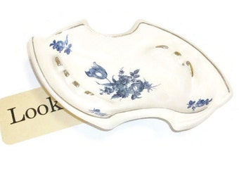 Vintage California Pottery Transfer Ware Ashtray | White with Blue Floral Transfers