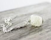 Druzy Gemstone Necklace, Sterling Silver Necklace, Wire Wrap Necklace, White Druzy Necklace, Wrapped Pendant Necklace, Bridal Necklace