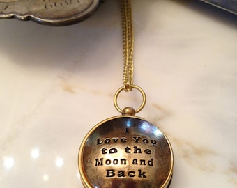 I Love You To The Moon and Back, Working Compass Necklace, Quote Necklace