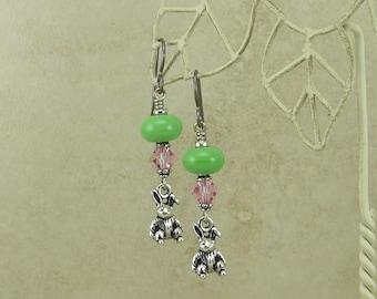 Easter Bunny > Lampwork and Swarovski Crystal Earrings - Velveteen Rabbit Pink Green Spring - Hypoallergenic Niobium Ear Wires