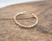 Sterling Silver, Rose GoldFilled & Yellow GoldFilled Twisted Toe Ring- Tri Metal